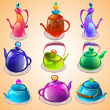 Vector set of tea kettles. Cartoon set of tea kettles Royalty Free Stock Images