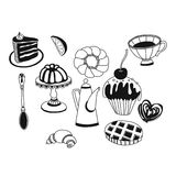 Vector set of tea and sweets. Hand drawn doodle icons Royalty Free Stock Images