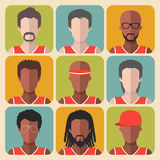 Vector set of team basketball players app icons in trendy flat style. Royalty Free Stock Photos