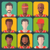 Vector set of team basketball players app icons in trendy flat style. Royalty Free Stock Photography