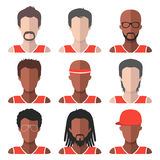 Vector set of team basketball players app icons in trendy flat style. Royalty Free Stock Images