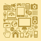 Vector set of technology icons in retro style Royalty Free Stock Photos