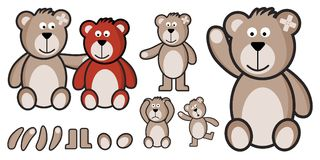 Vector set of teddy bears fully customizabled. Many poses Stock Images