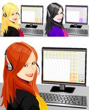 Vector Set of telephone operator three color. Beautiful young girl telephone operator in headphones in the workplace, blonde, brunette, brown-haired Stock Images
