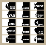 Vector set of template for business cards on the theme of musical instruments, radio, disco Royalty Free Stock Images