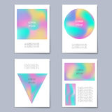 Vector set template with holographic shapes backgrounds Stock Image