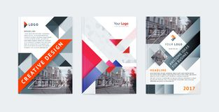 Vector set of templates booklet cover design, poster, magazine, brochures, flyers A4 with logo, place for photo and text. Geometric colorful shapes and Royalty Free Stock Image