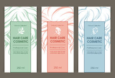 Vector set of templates color packaging hair care cosmetic Royalty Free Stock Photography