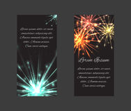 Vector set of templates with fireworks. And a place for text for forms, blanks, coupons, invitations, and your creativity Stock Photo