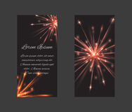 Vector set of templates with fireworks Royalty Free Stock Photo