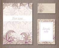 Vector set of templates invitations or greeting cards. Royalty Free Stock Photos