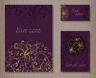 Vector set of templates invitations or greeting cards. Stock Photo