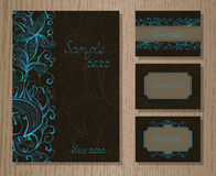 Vector set of templates invitations or greeting cards. Stock Photos
