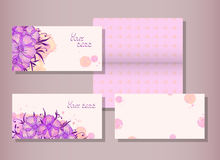 Vector set of templates invitations or greeting cards with flowers and watercolor elements. Royalty Free Stock Photography
