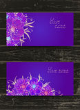 Vector set of templates invitations or greeting cards with hand. Drawn flowers and watercolor elements on a wooden background. Collection of templates in purple Royalty Free Stock Photos