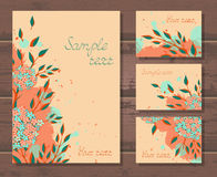 Vector set of templates invitations or greeting cards with hand drawn flowers. Vector set of templates invitations or greeting cards with hand drawn flowers and Stock Images