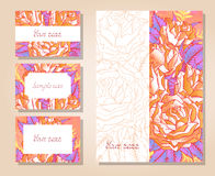 Vector set of templates invitations or greeting cards with hand drawn roses. Vector set of templates invitations or greeting cards with hand drawn roses and Stock Photography