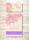 Vector set of templates invitations or greeting cards with hand drawn roses. Royalty Free Stock Image