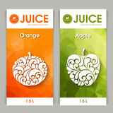 Vector set of templates packaging fruit juice. Label, banner, poster, identity, branding. Abstract color background with ornamental design elements - orange vector illustration