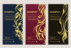 Vector set of templates packaging hair care cosmetics Royalty Free Stock Image