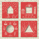 Vector set of  templates for paper Christmas cards. Stock Photos