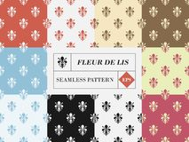 Vector set of ten fleur de lis seamless patterns. Vector set collection of ten fleur de lis seamless patterns with different colors combination vector illustration