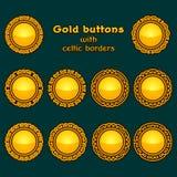 Vector set of ten golden celtic knotwork buttons Stock Photo