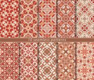 Vector set of ten seamless abstract patterns in ethnic style. Decorative and design elements for textile, book covers, print, gift wrap Royalty Free Stock Photo