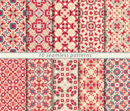 Vector set of ten seamless abstract patterns in ethnic style. Decorative and design elements for textile, book covers, print, gift wrap Royalty Free Stock Images