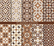 Vector set of ten seamless abstract patterns in ethnic style. Decorative and design elements for textile, book covers, print, gift wrap Stock Photography