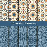 Vector set of ten seamless traditional arabic geometric patterns. design for covers, textile, packaging. Vector set of ten seamless traditional arabic geometric Stock Photo