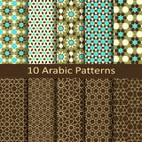 Vector set of ten seamless traditional arabic geometric patterns. Vector set of ten seamless traditional arabic geometric star patterns Royalty Free Stock Images