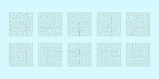 Vector set of ten square mazes Stock Photo