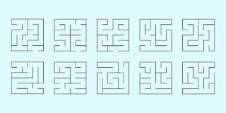 Vector set of ten square mazes Royalty Free Stock Photography