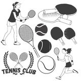 Vector set of tennis sport labels in vintage style. Tennis balls and rackets. Design elements, icons, logo. Stock Image