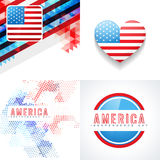 Vector set of 4th july american independence day background Royalty Free Stock Photos