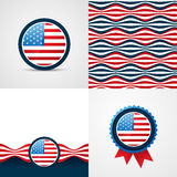 Vector set of 4th july american independence day background. Abstract illustration Stock Image