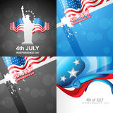 Vector set of 4th july american independence day background. Vector collection of american flag design of 4th july abstract background Stock Photos