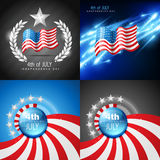 Vector set of 4th july american independence day background. With flag Royalty Free Stock Photo