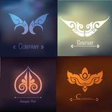 Vector set of thai ornament design and decoration on on blur background Stock Images