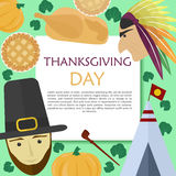Vector set for Thanksgiving Day in a flat style Stock Photos