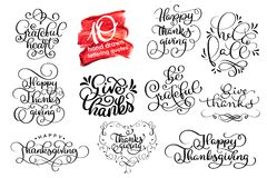 Vector set Thanksgiving lettering for invitations or festive greeting cards. Handwritten calligraphy Grateful Thankful Royalty Free Stock Photo