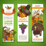 Vector set of Thanksgiving vertical banners. Royalty Free Stock Images