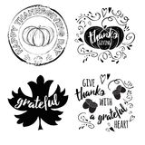 Vector set of Thanksgiving wishes with pumpkin, maple leaf, acorns in black colors stock illustration