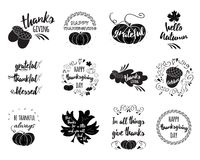 Vector set of Thanksgiving wishes overlays, lettering labels   Royalty Free Stock Photos