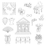 Vector set of theater icons hand drawn, doodle. Royalty Free Stock Image