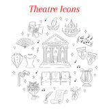 Vector set of theater icons hand drawn, doodle. Stock Photos