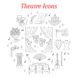 Vector set of theater icons hand drawn, doodle. Royalty Free Stock Photos
