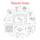 Vector set of theater icons hand drawn, doodle. Stock Images