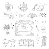 Vector set of theater icons hand drawn, doodle. Royalty Free Stock Photography